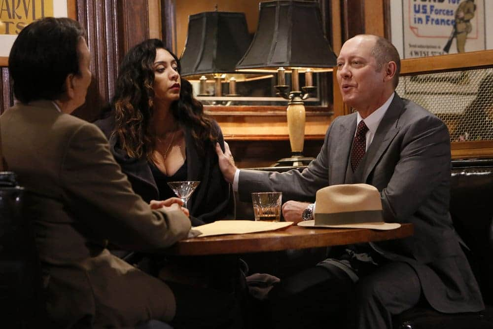 "THE BLACKLIST -- ""Dr. Jordan Shaw #98"" Episode 407 -- Pictured: (l-r) James Hong as The Coroner, Mozhan Marno as Samar Navabi, James Spader as Raymond ""Red"" Reddington -- (Photo by: Will Hart/NBC)"