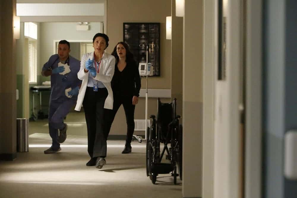 "THE BLACKLIST -- ""Dr. Jordan Shaw #98"" Episode 407 -- Pictured: (l-r) Jodi Long as Col. Jane Wright, Megan Boone as Elizabeth Keen -- (Photo by: Will Hart/NBC)"