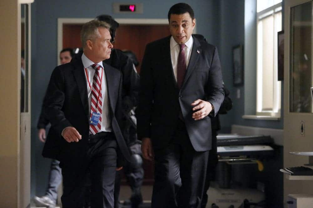 "THE BLACKLIST -- ""Dr. Jordan Shaw #98"" Episode 407 -- Pictured: (l-r) Frank Lewallen as Head of Security, Harry Lennix as Harold Cooper -- (Photo by: Will Hart/NBC)"