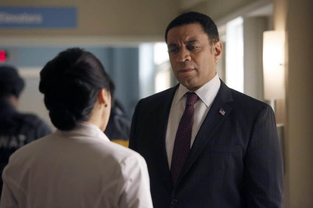 "THE BLACKLIST -- ""Dr. Jordan Shaw #98"" Episode 407 -- Pictured: (l-r) Jodi Long as Col. Jane Wright, Harry Lennix as Harold Cooper -- (Photo by: Will Hart/NBC)"