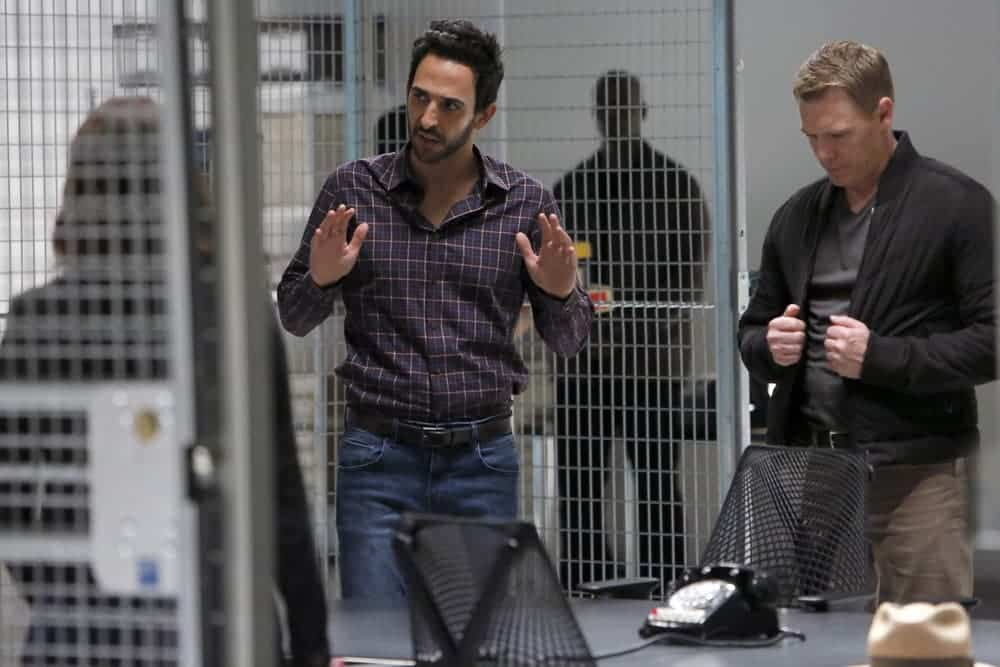 """THE BLACKLIST-- """"The Thrushes: #53"""" Episode 406 -- Pictured: (l-r) Amir Arison as Aram Mojtabai, Diego Klattenhoff as Donald Ressler -- (Photo by: Will Hart/NBC)"""