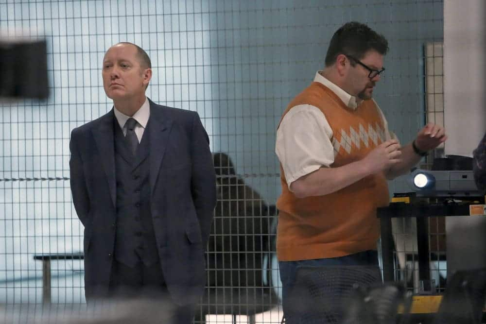 """THE BLACKLIST-- """"The Thrushes: #53"""" Episode 406 -- Pictured: (l-r) James Spader as Raymond """"Red"""" Reddington, Daniel Stewart Sherman as Chester -- (Photo by: Will Hart/NBC)"""