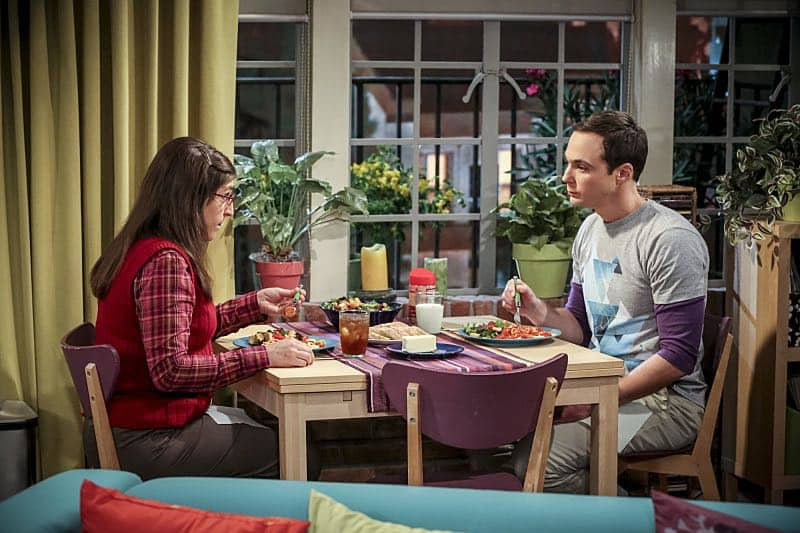 """The Fetal Kick Catalyst"" -- Pictured: Amy Farrah Fowler (Mayim Bialik) and Sheldon Cooper (Jim Parsons). Penny is surprised to learn she has fans of her performance in ""Serial Ape-ist"" when she attends Van Nuys Comic Con with Leonard. Also, Amy hosts a Sheldon-style brunch at Penny's apartment and Wolowitz makes an impulsive purchase when he starts stressing out about the baby on the way, when THE BIG BANG THEORY moves to its regular time period, Thursday, Oct. 27 (8:00-8:31 PM, ET/PT), on the CBS Television Network. Photo: Michael Yarish/Warner Bros. Entertainment Inc. © 2016 WBEI. All rights reserved."