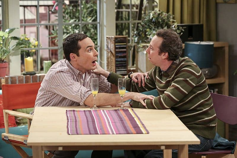 """The Fetal Kick Catalyst"" -- Pictured: Sheldon Cooper (Jim Parsons) and Stuart (Kevin Sussman). Penny is surprised to learn she has fans of her performance in ""Serial Ape-ist"" when she attends Van Nuys Comic Con with Leonard. Also, Amy hosts a Sheldon-style brunch at Penny's apartment and Wolowitz makes an impulsive purchase when he starts stressing out about the baby on the way, when THE BIG BANG THEORY moves to its regular time period, Thursday, Oct. 27 (8:00-8:31 PM, ET/PT), on the CBS Television Network. Photo: Michael Yarish/Warner Bros. Entertainment Inc. © 2016 WBEI. All rights reserved."