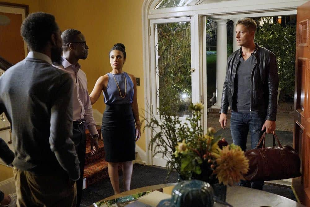 "THIS IS US -- ""The Pool"" Episode 104 -- Pictured: (l-r) Sterling K. Brown as Randall, Susan Kelechi Watson as Beth, Justin Hartley as Kevin -- (Photo by: Paul Drinkwater/NBC)"