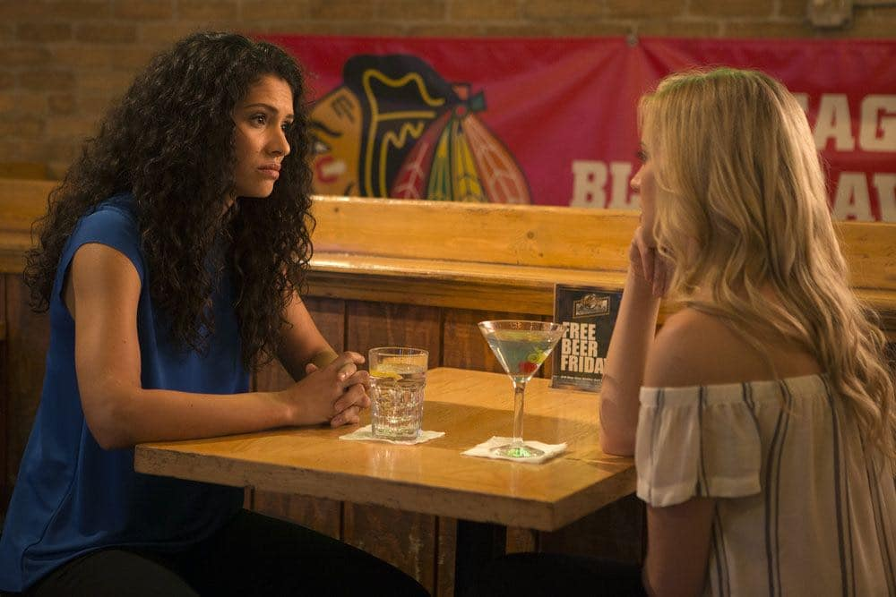 "CHICAGO FIRE -- ""Scorched Earth"" Episode 503 -- Pictured: (l-r) Miranda Rae Mayo as Stella Kid, Kara Killmer as Sylvie Brett -- (Photo by: Parrish Lewis/NBC)"