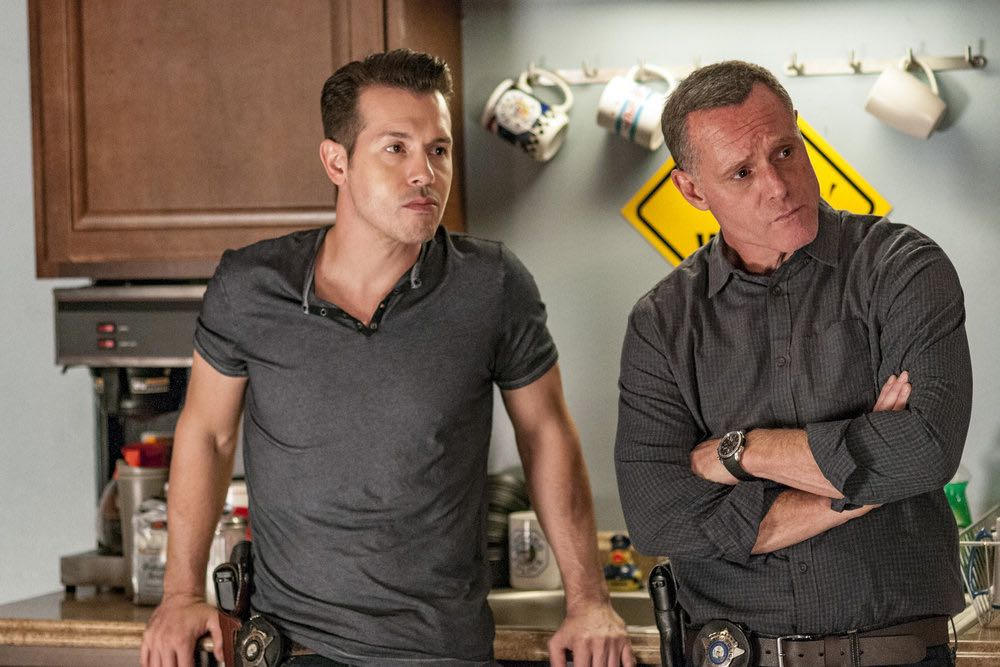 "CHICAGO P.D. -- ""Skin in the Game"" Episode 406 -- Pictured: (l-r) Jon Seda as Antonio Dawson, Jason Beghe as Hank Voight -- (Photo by: Matt Dinerstein/NBC)"
