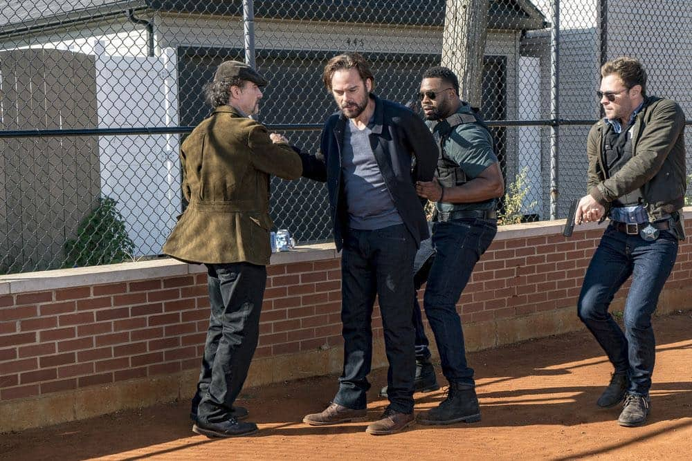 "CHICAGO P.D. -- ""Skin in the Game"" Episode 406 -- Pictured: (l-r) Elias Koteas as Alvin Olinsky, Billy Burke as Jake McCoy, LaRoyce Hawkins as Kevin Atwater, Patrick Flueger as Kyle Ruzek -- (Photo by: Matt Dinerstein/NBC)"
