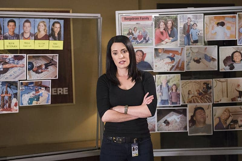 """The Anti-Terrorism Squad"" -- The BAU uses social media to discover an even bigger motive when two high school students survive both of their families deaths in Minnesota, on CRIMINAL MINDS, Wednesday, Nov. 2 (9:00-10:00 PM, ET/PT), on the CBS Television Network. Pictured: Paget Brewster (Emily Prentiss) Photo: Neil Jacobs/CBS ©2016 CBS Broadcasting, Inc. All Rights Reserved"