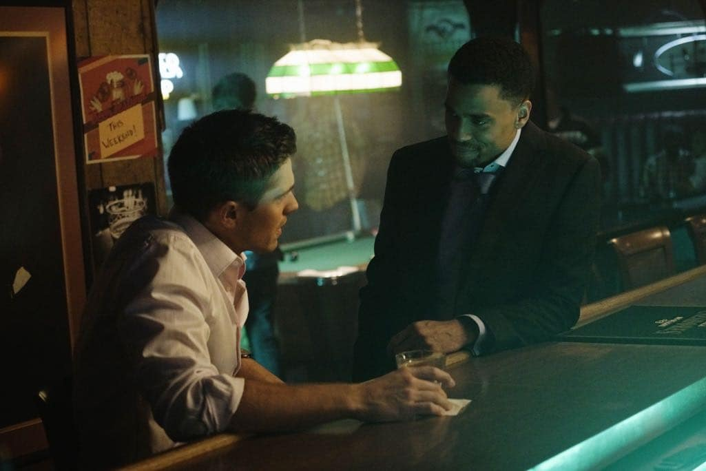 """SECRETS AND LIES - """"The Detective"""" - Eric discovers that he and Danny have more in common than he first believed. The two get closer to finding Liam, but they aren't the only ones who have been hot on his trail. At work, things begin to unravel when Patrick fails to cover for Eric at a big meeting and then gets swept up in Detective Cornell's web of interrogation. And just when Eric begins to get some answers, he is confronted by a huge betrayal, leaving him speechless, on """"Secrets and Lies,"""" SUNDAY, OCTOBER 23 (9:00-10:00 p.m. EDT), on the ABC Television Network. (ABC/Michael Desmond) ERIC WINTER, MICHAEL EALY"""