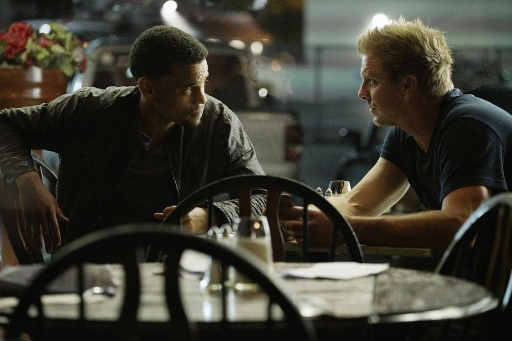 """SECRETS AND LIES - """"The Detective"""" - Eric discovers that he and Danny have more in common than he first believed. The two get closer to finding Liam, but they aren't the only ones who have been hot on his trail. At work, things begin to unravel when Patrick fails to cover for Eric at a big meeting and then gets swept up in Detective Cornell's web of interrogation. And just when Eric begins to get some answers, he is confronted by a huge betrayal, leaving him speechless, on """"Secrets and Lies,"""" SUNDAY, OCTOBER 23 (9:00-10:00 p.m. EDT), on the ABC Television Network. (ABC/Michael Desmond) MICHAEL EALY, KENNY JOHNSON"""