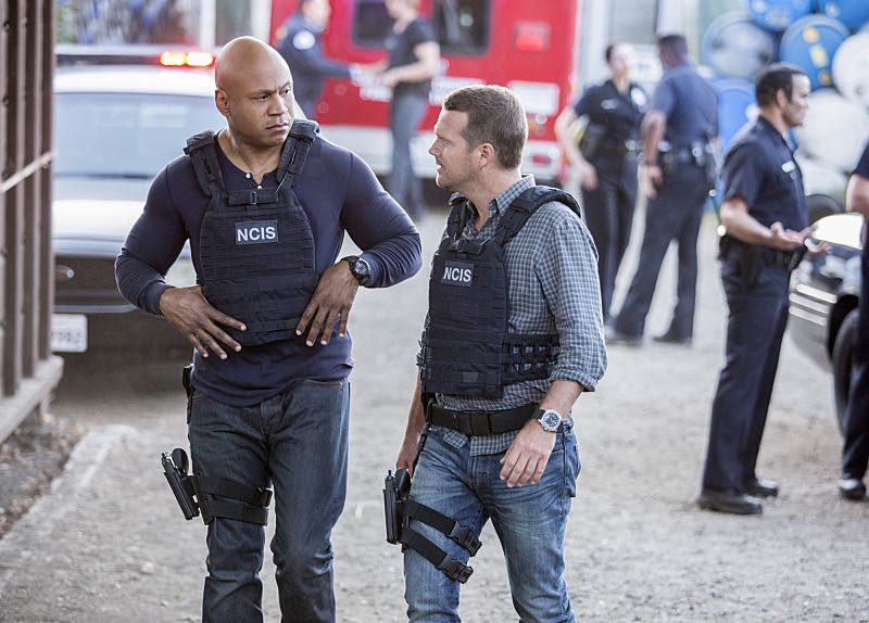 """Home Is Where the Heart Is"" -- Pictured: LL COOL J (Special Agent Sam Hanna) and Chris O'Donnell (Special Agent G. Callen). After a maintenance man saved the life of a Lt. Commander, the NCIS team uncovers his dark past which puts a local teenager in danger. Also, Sam must decide which colleague to take to the Los Angeles football game, on NCIS: LOS ANGELES, Sunday, Oct. 30 (8:00-9:00 PM, ET/PT), on the CBS Television Network. Photo: Erik Voake/CBS ©2016 CBS Broadcasting, Inc. All Rights Reserved."