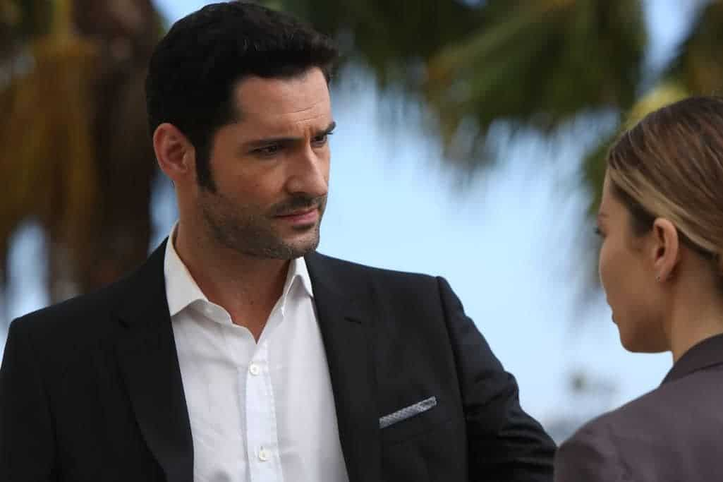 "LUCIFER: L-R: Tom Ellis and Lauren German in the ""Weaponizer"" episode of LUCIFER airing Monday, Oct. 24 (9:01-10:00 PM ET/PT) on FOX. ©2016 Fox Broadcasting Co. Cr: Michael Courtney/FOX."