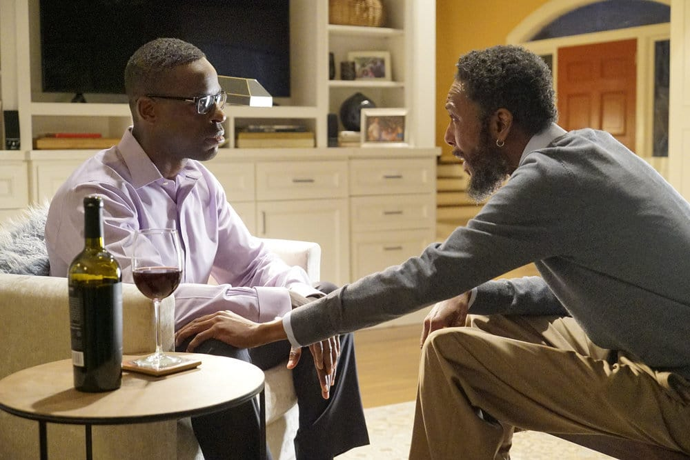 "THIS IS US -- ""The Pool"" Episode 104 -- Pictured: (l-r) Sterling K Brown as Randall, Ron Cephas Jones as William -- (Photo by: Paul Drinkwater/NBC)"