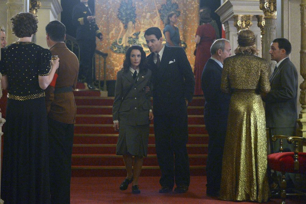 "TIMELESS -- ""Party At Castle Varlar"" Episode 103 -- Pictured: (l-r) Abigail Spencer as Lucy Preston, Goran Visnjic as Garcia Flynn -- (Photo by: Sergei Bachlakov/NBC)"
