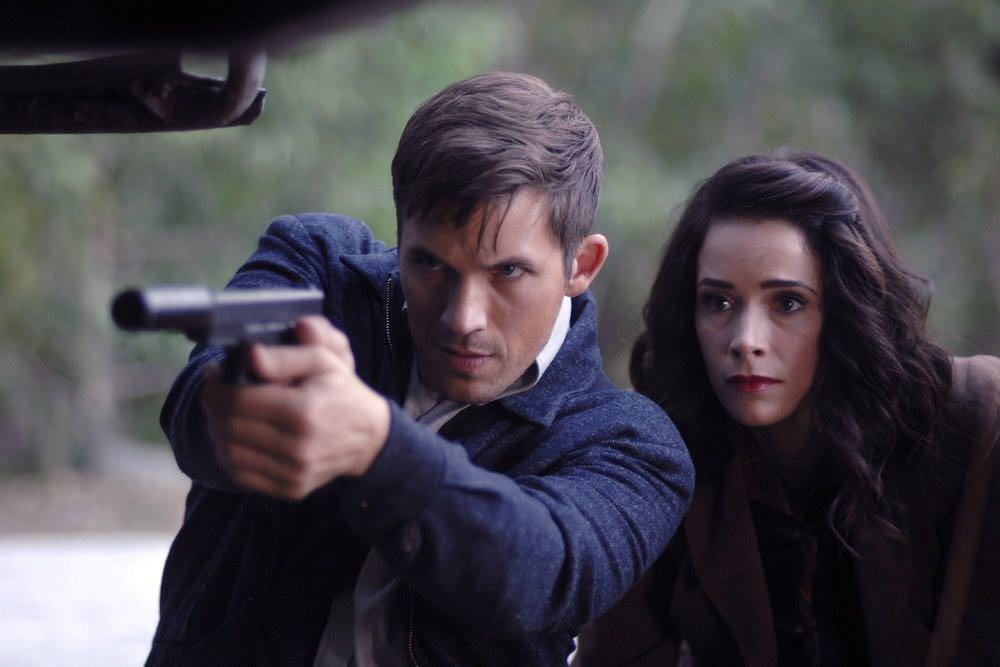 "TIMELESS -- ""Party At Castle Varlar"" Episode 103 -- Pictured: (l-r) Matt Lanter as Wyatt Logan, Abigail Spencer as Lucy Preston -- (Photo by: Sergei Bachlakov/NBC)"