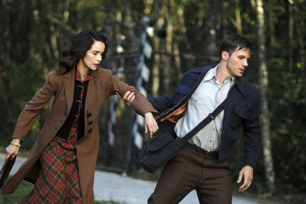 "TIMELESS -- ""Party At Castle Varlar"" Episode 103 -- Pictured: (l-r) Abigail Spencer as Lucy Preston, Matt Lanter as Wyatt Logan -- (Photo by: Sergei Bachlakov/NBC)"