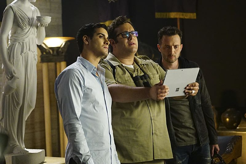 """""""Plight at the Museum"""" -- Team Scorpion's simple job at the Los Angeles Natural History Museum turns deadly when they discover thieves robbing a rare gem exhibit in order to get materials needed to enrich a nuclear bomb, on SCORPION, Monday, Oct. 24 (10:00-11:00 PM, ET/PT), on the CBS Television Network. Pictured: Elyes Gabel, Ari Stidham, Eddie Kaye Thomas. Photo: Sonja Flemming/CBS ©2016 CBS Broadcasting, Inc. All Rights Reserved"""