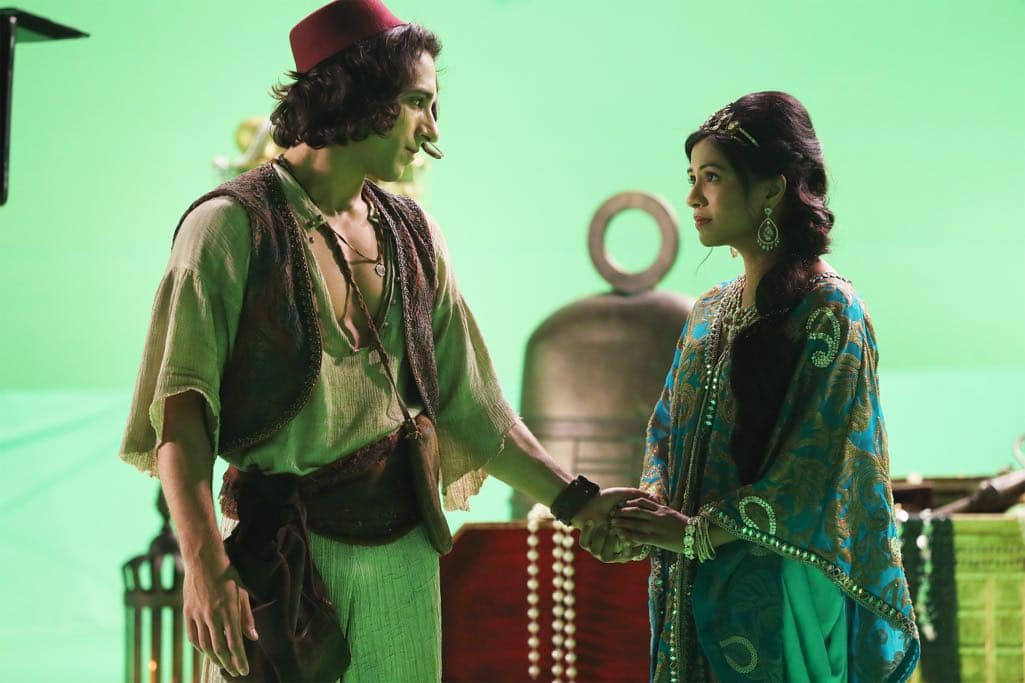 """ONCE UPON A TIME - """"Street Rats"""" - In a flashback to Agrabah, Princess Jasmine recruits Aladdin to help her recover a secret weapon capable of breaking Jafar's hold on the Sultan and saving the city from ruin. Their quest takes them to the Cave of Wonders where Aladdin's fate is revealed. In Storybrooke, the Evil Queen tricks Hook and the Charmings and forces Emma to reveal her secret in an effort to divide the family. While the Evil Queen pampers Zelena, elsewhere in town, Regina and our heroes scramble to learn what became of Aladdin, on """"Once Upon a Time,"""" SUNDAY, OCTOBER 23 (8:00-9:00 p.m. EDT), on the ABC Television Network. (ABC/Jack Rowand) DENIZ AKDENIZ, KAREN DAVID"""