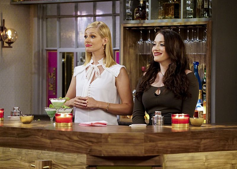 """And the 80's Movie"" -- Pictured: Caroline Channing (Beth Behrs) and Max Black (Kat Dennings). Max and Caroline's plans to attract a more sophisticated clientele to their dessert bar take a turn when Max befriends a bouncer whose team of arm wrestlers becomes their latest patrons. Also, Max and Randy continue to text each other, but when she runs out of sexy messages to send him, Oleg offers to be her ghost writer, on 2 BROKE GIRLS, Monday, Oct. 17 (9:00-9:30 PM, ET/PT), on the CBS Television Network. Dot Marie Jones (""Glee"") guest stars as arm wrestler Big Reba. Photo: Sonja Flemming/CBS ©2016 CBS Broadcasting, Inc. All Rights Reserved."