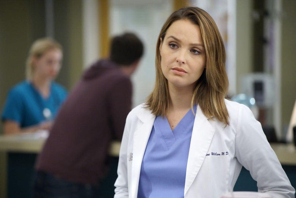 """GREY'S ANATOMY - """"Roar"""" - A familiar face returns to Grey Sloan, throwing many of the doctors for a loop. With Catherine putting on the pressure, Bailey has to make a decision about Alex while a tough ER case makes Amelia's bad day even worse, on """"Grey's Anatomy,"""" THURSDAY, OCTOBER 27 (8:00-9:00 p.m. EDT), on the ABC Television Network. (ABC/Jennifer Clasen) CAMILLA LUDDINGTON"""