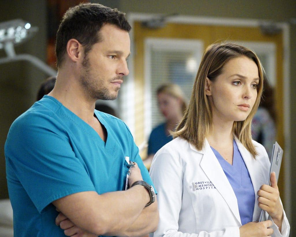 """GREY'S ANATOMY - """"Roar"""" - A familiar face returns to Grey Sloan, throwing many of the doctors for a loop. With Catherine putting on the pressure, Bailey has to make a decision about Alex while a tough ER case makes Amelia's bad day even worse, on """"Grey's Anatomy,"""" THURSDAY, OCTOBER 27 (8:00-9:00 p.m. EDT), on the ABC Television Network. (ABC/Jennifer Clasen) JUSTIN CHAMBERS, CAMILLA LUDDINGTON"""