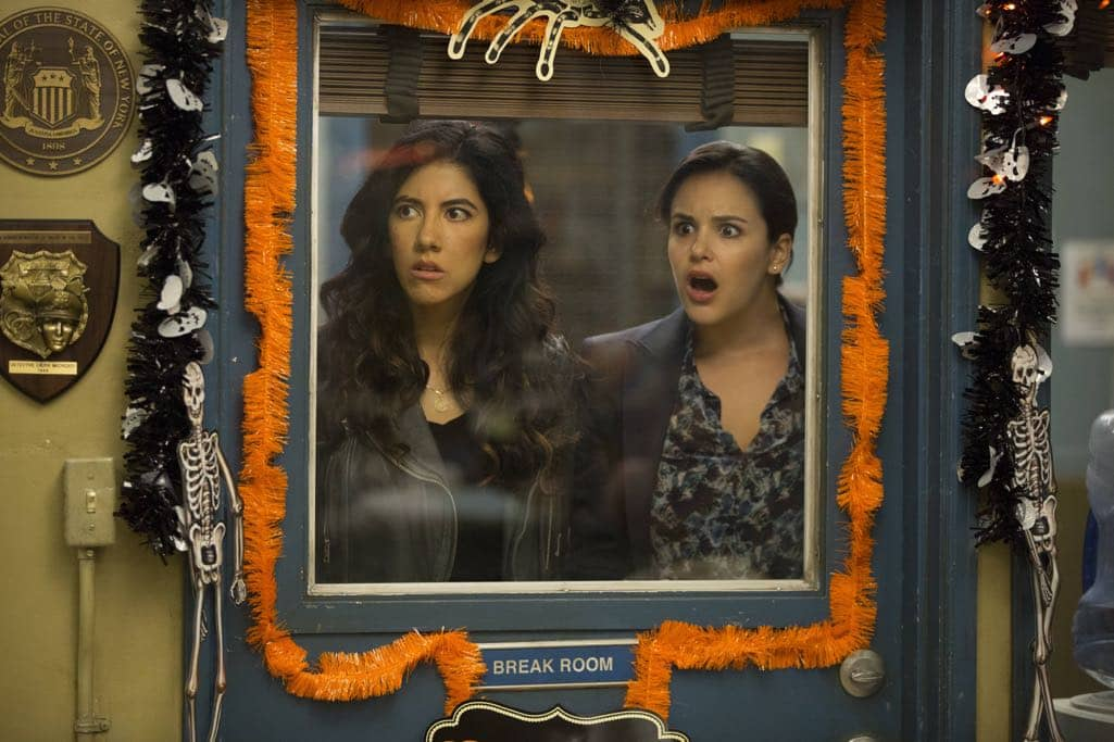 "BROOKLYN NINE-NINE: L-R: Stephan Beatriz and Melissa Fumero in the ""Halloween IV"" episode of BROOKLYN NINE-NINE airing Tuesday, Oct. 18 (8:00-8:31 PM ET/PT) on FOX. CR: John P Fleenor/FOX"