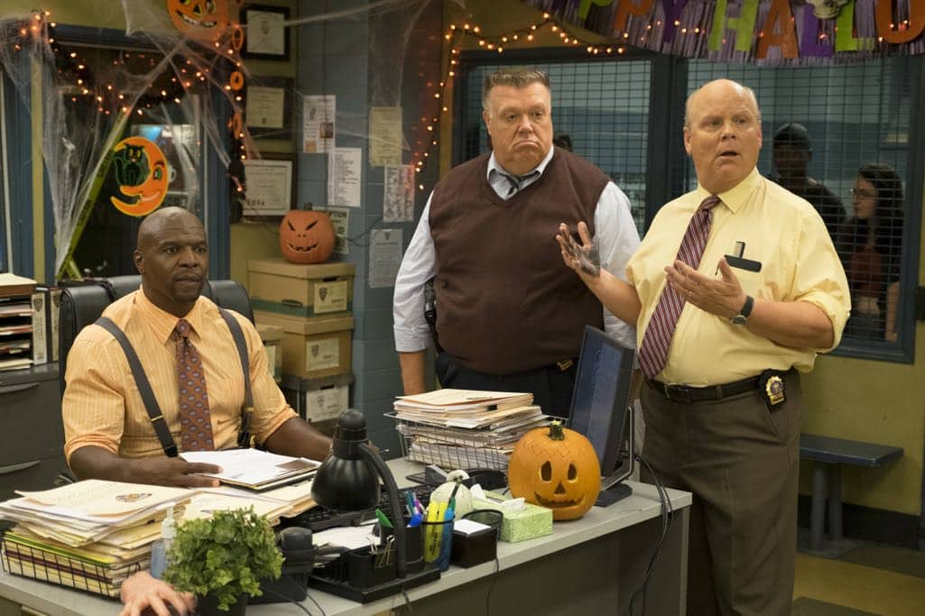 "BROOKLYN NINE-NINE: L-R: Terry Crews Joel McKinnon Miller and Dirk Blocker in the ""Halloween IV"" episode of BROOKLYN NINE-NINE airing Tuesday, Oct. 18 (8:00-8:31 PM ET/PT) on FOX. CR: John P Fleenor/FOX"