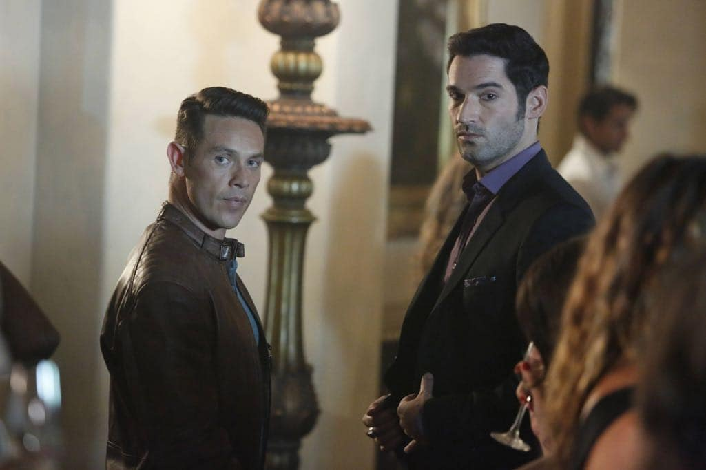 "LUCIFER: L-R: Kevin Alejandro and Tom Ellis in the ""Lady Parts"" episode of LUCIFER airing Monday, Oct. 17 (9:01-10:00 PM ET/PT) on FOX. ©2016 Fox Broadcasting Co. Cr: Bettina Strauss/FOX."
