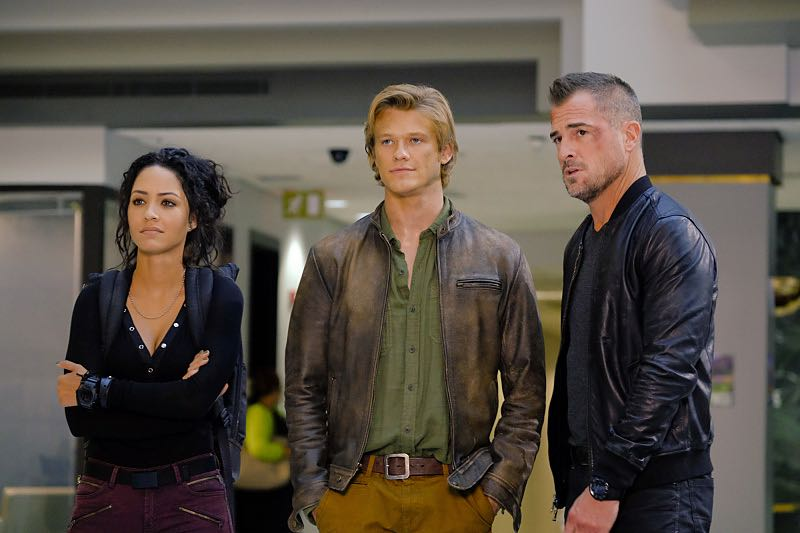 """""""Toothpick"""" -- Using only an armrest, a curtain rod and a toothpick, MacGyver must fix a sabotaged train in order to protect a whistleblower who has proof that her boss is selling weapons to U.S. enemies, on MACGYVER, Friday, Oct. 21 (8:00-9:00 PM, ET/PT) on the CBS Television Network. Pictured: Tristin Mays, Lucas Till, George Eads. Photo: Guy D'Alema/CBS ©2016 CBS Broadcasting, Inc. All Rights Reserved"""