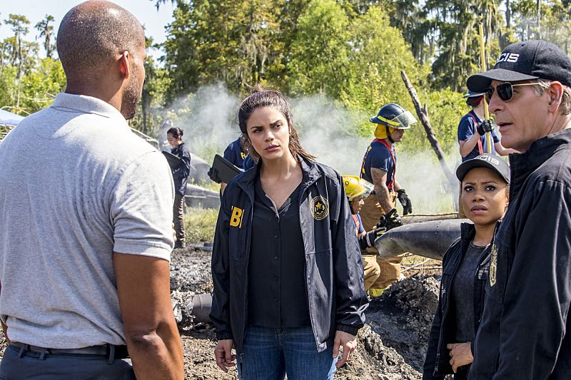 """Course Correction"" -- NCIS and FBI investigate a private plane crash in the bayou that killed three sailors. Also, Sonja and Lasalle interview candidates for the team's open agent position, on NCIS: New Orleans, Tuesday, Oct. 25 (10:00-11:00, ET/PT), on the CBS Television Network. Pictured L-R: Reggie Austin as Terry Jenkins, Vanessa Ferlito as FBI Special Agent Tammy Gregorio, Shalita Grant as Sonja Percy, and Scott Bakula as Special Agent Dwayne Pride Photo: Skip Bolen/CBS ©2016 CBS Broadcasting, Inc. All Rights Reserved"