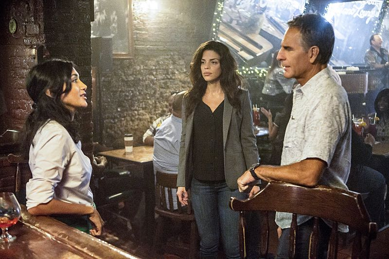 """Course Correction"" -- NCIS and FBI investigate a private plane crash in the bayou that killed three sailors. Also, Sonja and Lasalle interview candidates for the team's open agent position, on NCIS: New Orleans, Tuesday, Oct. 25 (10:00-11:00, ET/PT), on the CBS Television Network. Pictured L-R: Hina Abdullah as Emily Saad, Vanessa Ferlito as FBI Special Agent Tammy Gregorio, and Scott Bakula as Special Agent Dwayne Pride Photo: Skip Bolen/CBS ©2016 CBS Broadcasting, Inc. All Rights Reserved"