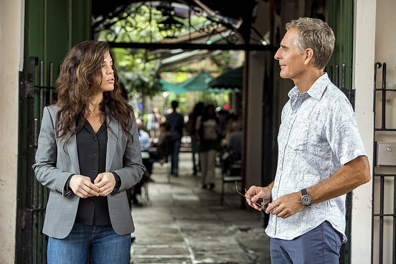 """Course Correction"" -- NCIS and FBI investigate a private plane crash in the bayou that killed three sailors. Also, Sonja and Lasalle interview candidates for the team's open agent position, on NCIS: New Orleans, Tuesday, Oct. 25 (10:00-11:00, ET/PT), on the CBS Television Network. Pictured L-R: Vanessa Ferlito as FBI Special Agent Tammy Gregorio and Scott Bakula as Special Agent Dwayne Pride Photo: Skip Bolen/CBS ©2016 CBS Broadcasting, Inc. All Rights Reserved"