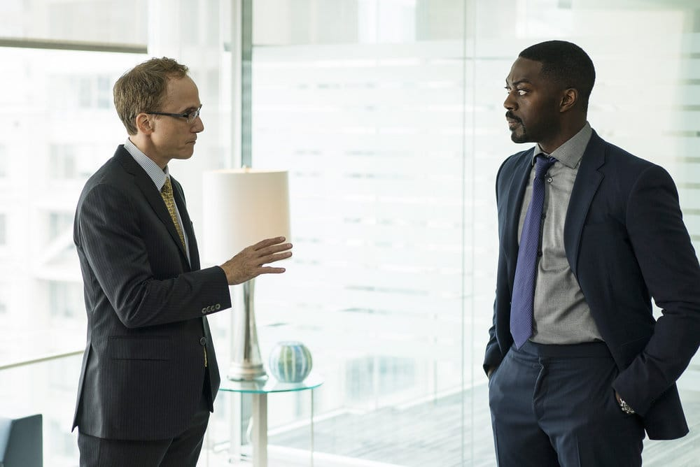 "FALLING WATER -- ""Calling the Vasty Deep"" Episode 102 -- Pictured: (l-r) Neal Huff as Nicholas Hull, David Ajala as Burton -- (Photo by: Michael Parmalee/USA Network)"
