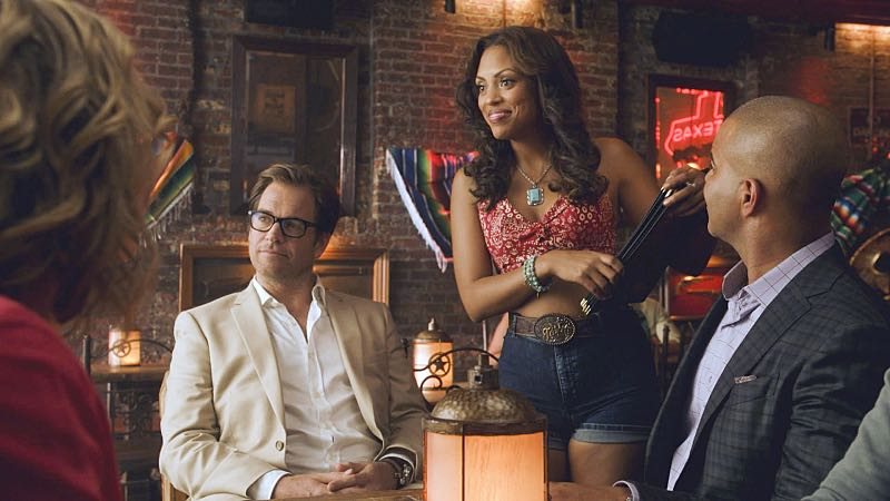 """Callisto""--When Bull and Trial Analysis Corp. help a young woman fight a drug patent lawsuit, they are forced to travel to Callisto, the small Texan town where Bull suffered the only trial loss of his career, on BULL, Tuesday, Oct. 18 (9:00-10:00 PM, ET/PT) on the CBS Television Network. Pictured L-R: Michael Weatherly as Dr. Jason Bull, Jaime Lee Kirchner as Danny James, and Chris Jackson as Chunk Palmer Photo: CBS ©2016 CBS Broadcasting, Inc. All Rights Reserved"