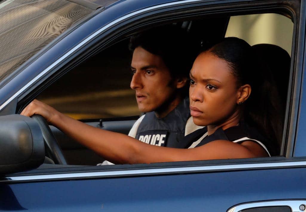 "LETHAL WEAPON: Pictured L-R: Guest star Richard Cabral and Michelle Mitchenor in the ""Spilt Milk"" episode of LETHAL WEAPON airing Wednesday, Oct. 19 (8:00-9:00 PM ET/PT) on FOX. ©2016 Fox Broadcasting Co. CR: Darren Michaels/FOX"