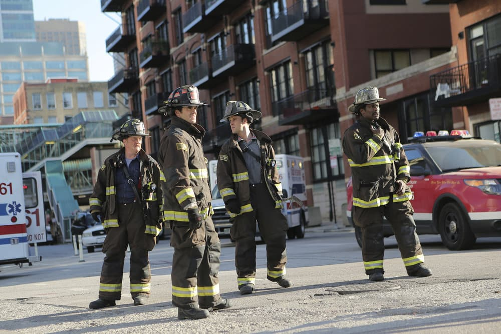 """CHICAGO FIRE -- """"A Real Wake-up Call"""" Episode 502 -- Pictured: (l-r) Christian Stolte as Mouch, Steven R. McQueen as Jimmy Borrelli, Jesse Spencer as Matthew Casey, Eamonn Walker as Wallace Boden -- (Photo by: Parrish Lewis/NBC)"""