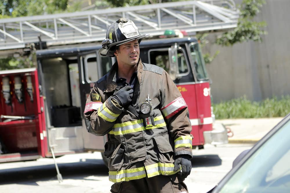 """CHICAGO FIRE -- """"A Real Wake-up Call"""" Episode 502 -- Pictured: Taylor Kinney as Kelly Severide -- (Photo by: Parrish Lewis/NBC)"""