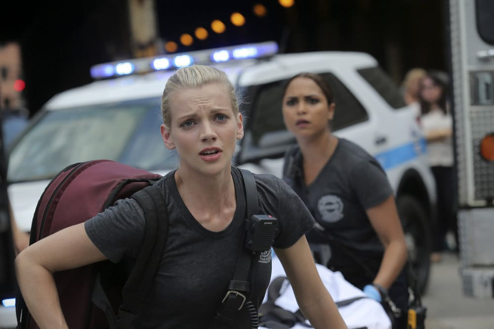 """CHICAGO FIRE -- """"A Real Wake-up Call"""" Episode 502 -- Pictured: Kara Killmer as Sylvie Brett -- (Photo by: Parrish Lewis/NBC)"""