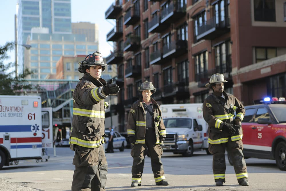 """CHICAGO FIRE -- """"A Real Wake-up Call"""" Episode 502 -- Pictured: (l-r) Steven R. McQueen as Jimmy Borrelli, Jesse Spencer as Matthew Casey, Eamonn Walker as Wallace Boden -- (Photo by: Parrish Lewis/NBC)"""