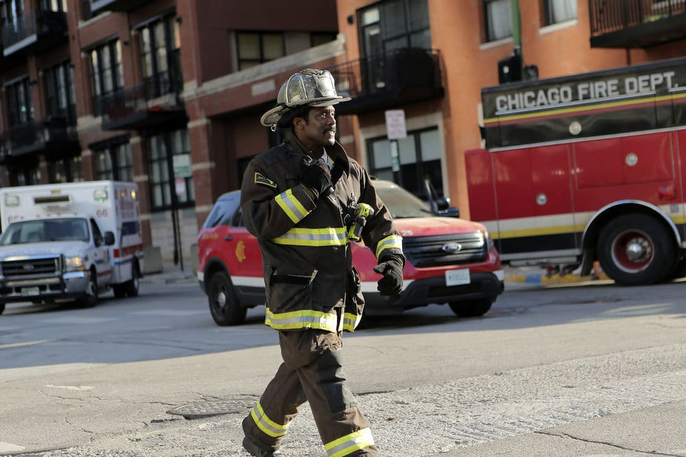 """CHICAGO FIRE -- """"A Real Wake-up Call"""" Episode 502 -- Pictured: Eamonn Walker as Chief Wallace Boden -- (Photo by: Parrish Lewis/NBC)"""