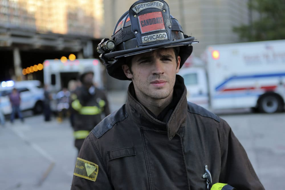 """CHICAGO FIRE -- """"A Real Wake-up Call"""" Episode 502 -- Pictured: Steven R. McQueen as Jimmy Borelli -- (Photo by: Parrish Lewis/NBC)"""