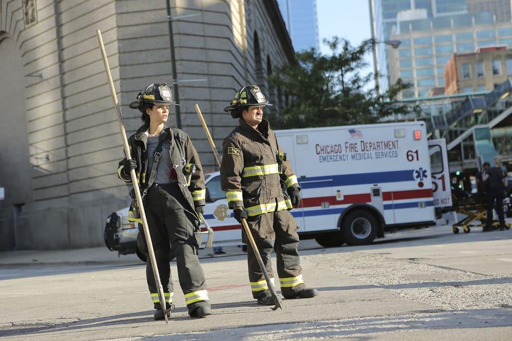 "CHICAGO FIRE -- ""A Real Wake-up Call"" Episode 502 -- Pictured: (l-r) Miranda Rae Mayo as Stella Kid, Yuriy Sardarov as Brian ""Otis"" Zvonecek -- (Photo by: Parrish Lewis/NBC)"