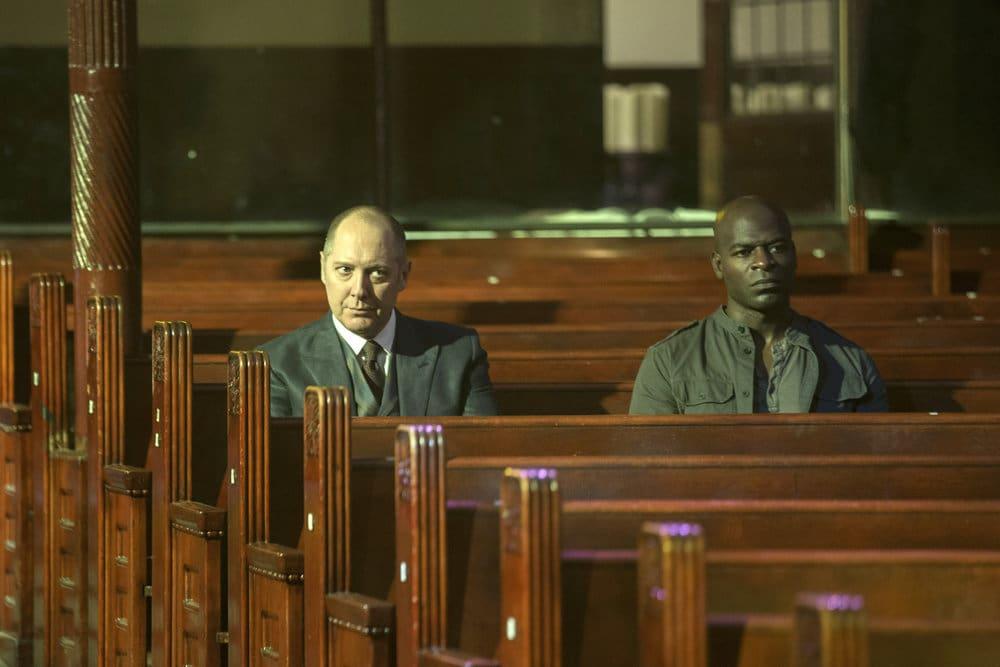 "THE BLACKLIST -- ""The Lindquist Concern #105"" Episode 405 -- Pictured: (l-r) James Spader as Raymond ""Red"" Reddington, Hisham Tawfiq as Dembe Zuma -- (Photo by: Eric Liebowitz/NBC)"