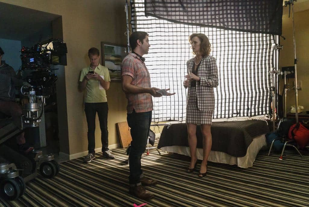 BTS, Executive Producer Chris Rogers, Kerry Bishe as Donna Clark- Halt and Catch Fire _ Season 3, Episode 8 - Photo Credit: Tina Rowden/AMC