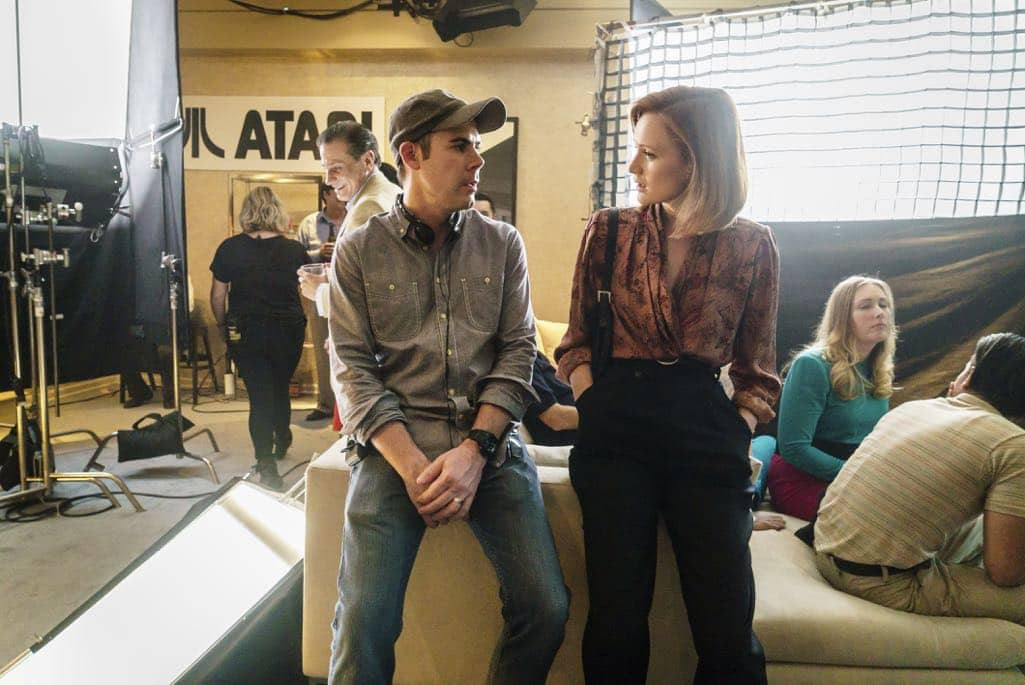 BTS, Executive Producer Chris Cantwell, Kerry Bishe as Donna Clark- Halt and Catch Fire _ Season 3, Episode 9 - Photo Credit: Tina Rowden/AMC