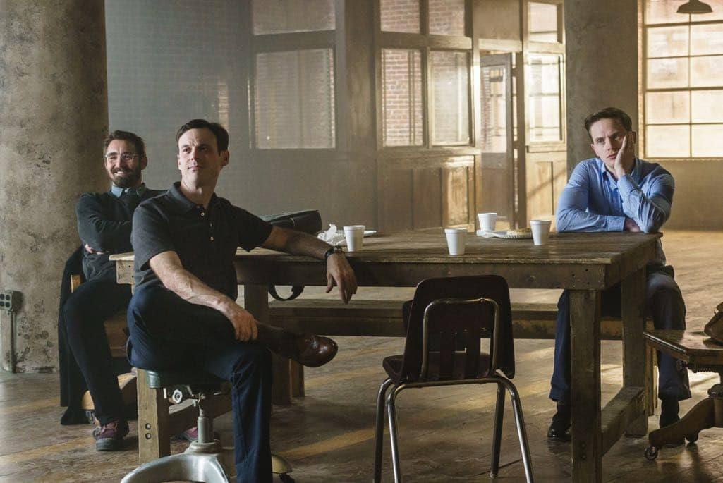 Lee Pace as Joe MacMillan, Scoot McNairy as Gordon Clark, Mark O'Brien as Tom Rendon - Halt and Catch Fire _ Season 3, Episode 10  - Photo Credit: Tina Rowden/AMC