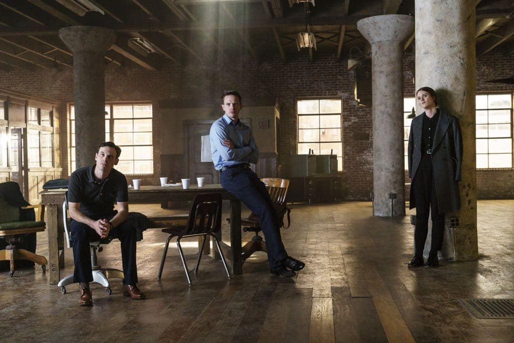 Scoot McNairy as Gordon Clark, Mackenzie Davis as Cameron Howe, Mark O'Brien as Tom Rendon - Halt and Catch Fire _ Season 3, Episode 10  - Photo Credit: Tina Rowden/AMC