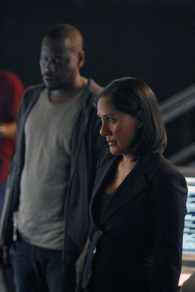 "TIMELESS -- ""Atomic City"" Episode 102 -- Pictured: (l-r) Malcolm Barrett as Rufus Carlin, Sakina Jaffrey as Denise Christopher -- (Photo by: Sergei Bachlakov/NBC)"