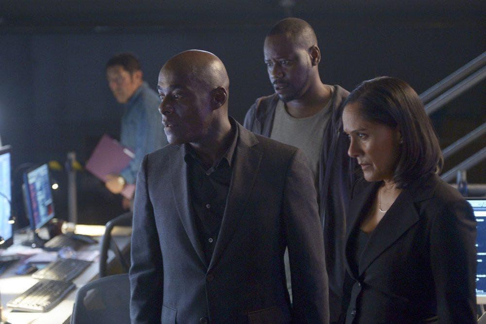 "TIMELESS -- ""Atomic City"" Episode 102 -- Pictured: (l-r) Paterson Joseph as Connor Mason, Malcolm Barrett as Rufus Carlin, Sakina Jaffrey as Denise Christopher -- (Photo by: Sergei Bachlakov/NBC)"